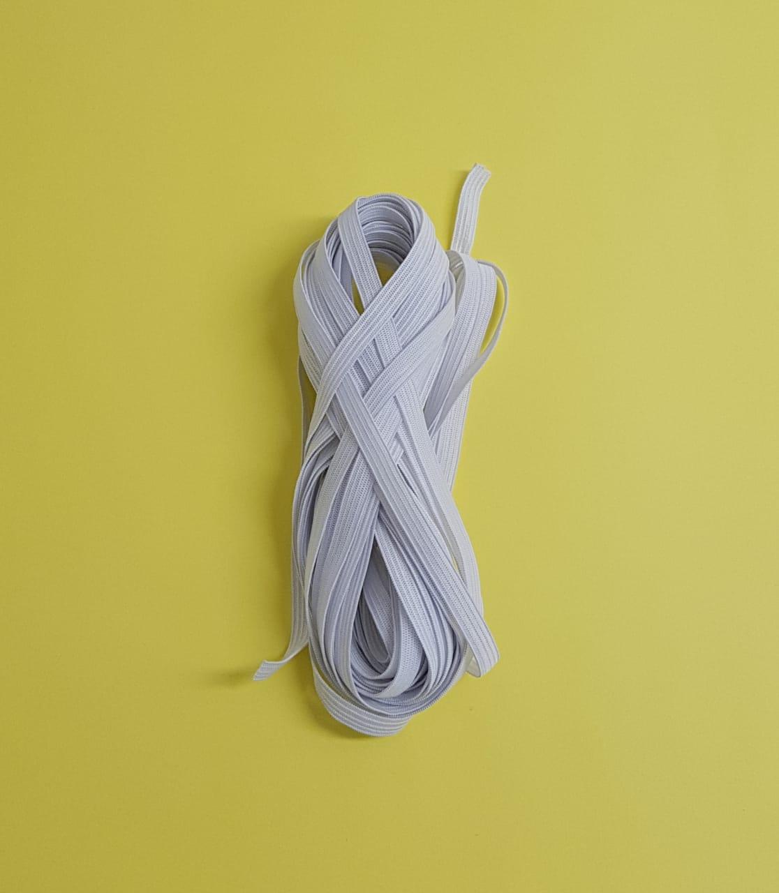 Elástico chato 7mm - branco - peça c/10 metros (cód: 1109)