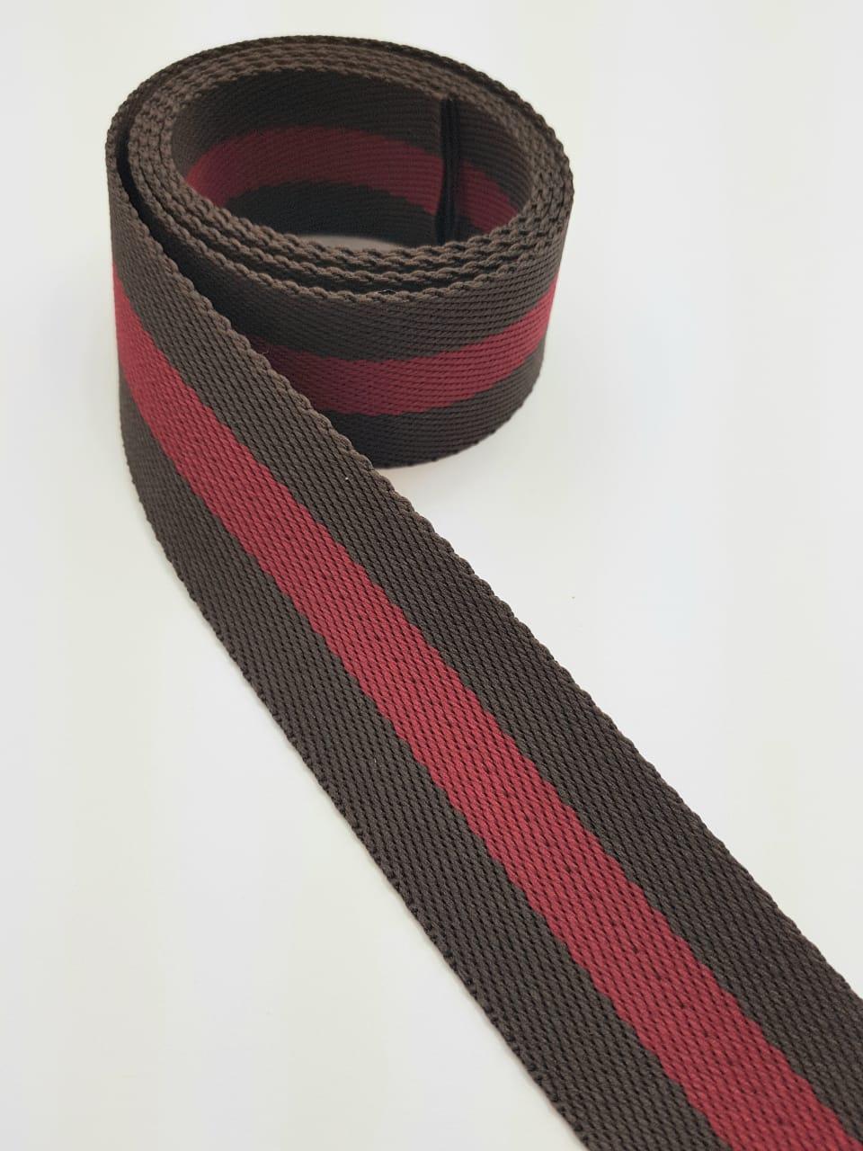 Alça Chic listrada / marrom com vermelho - 4cm x 1,50m