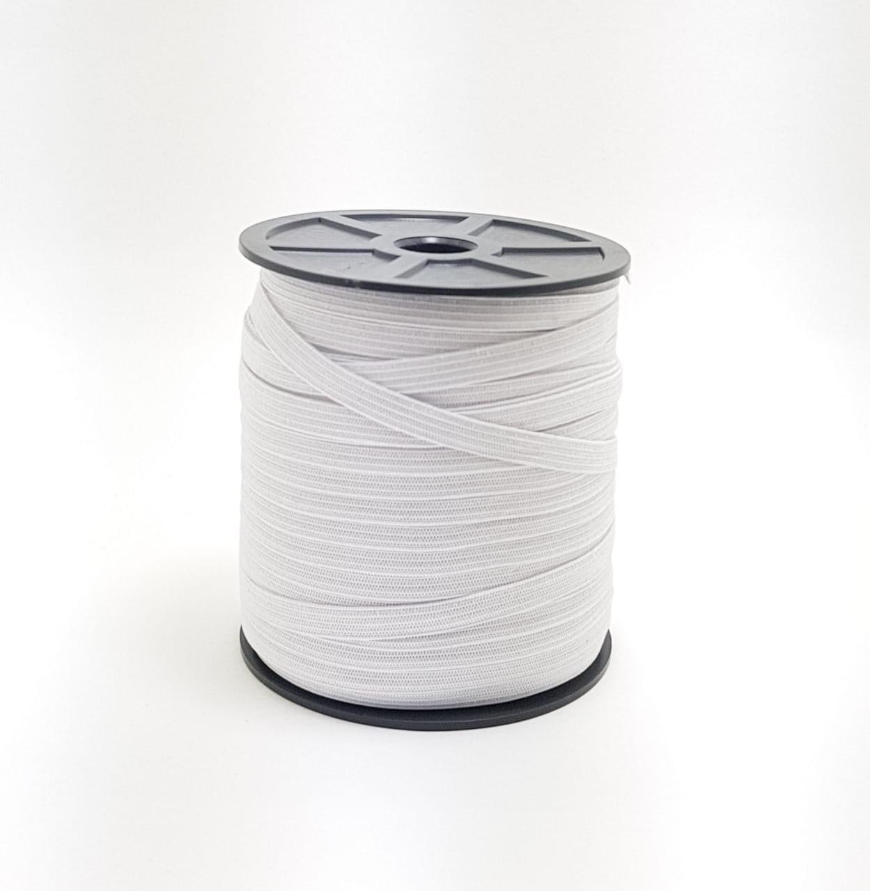 elástico chato 7mm - branco - rolo c/100 metros (cód: 1109)