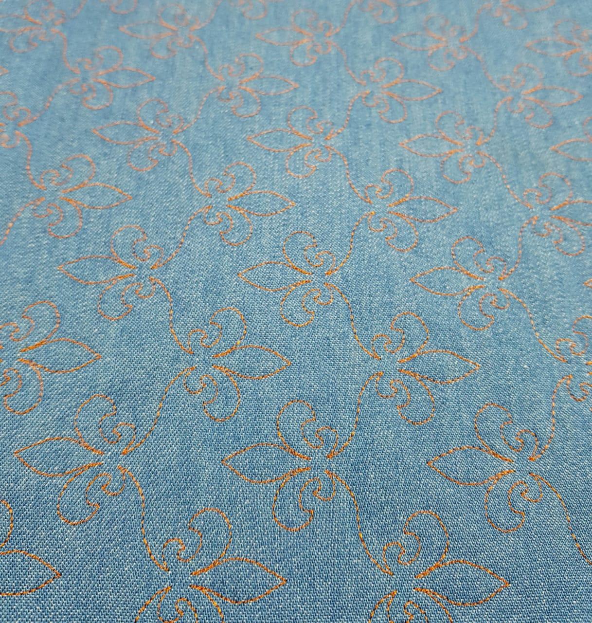 Jeans claro Matelassado - Flor de lis - 0,50cm x 1,50m