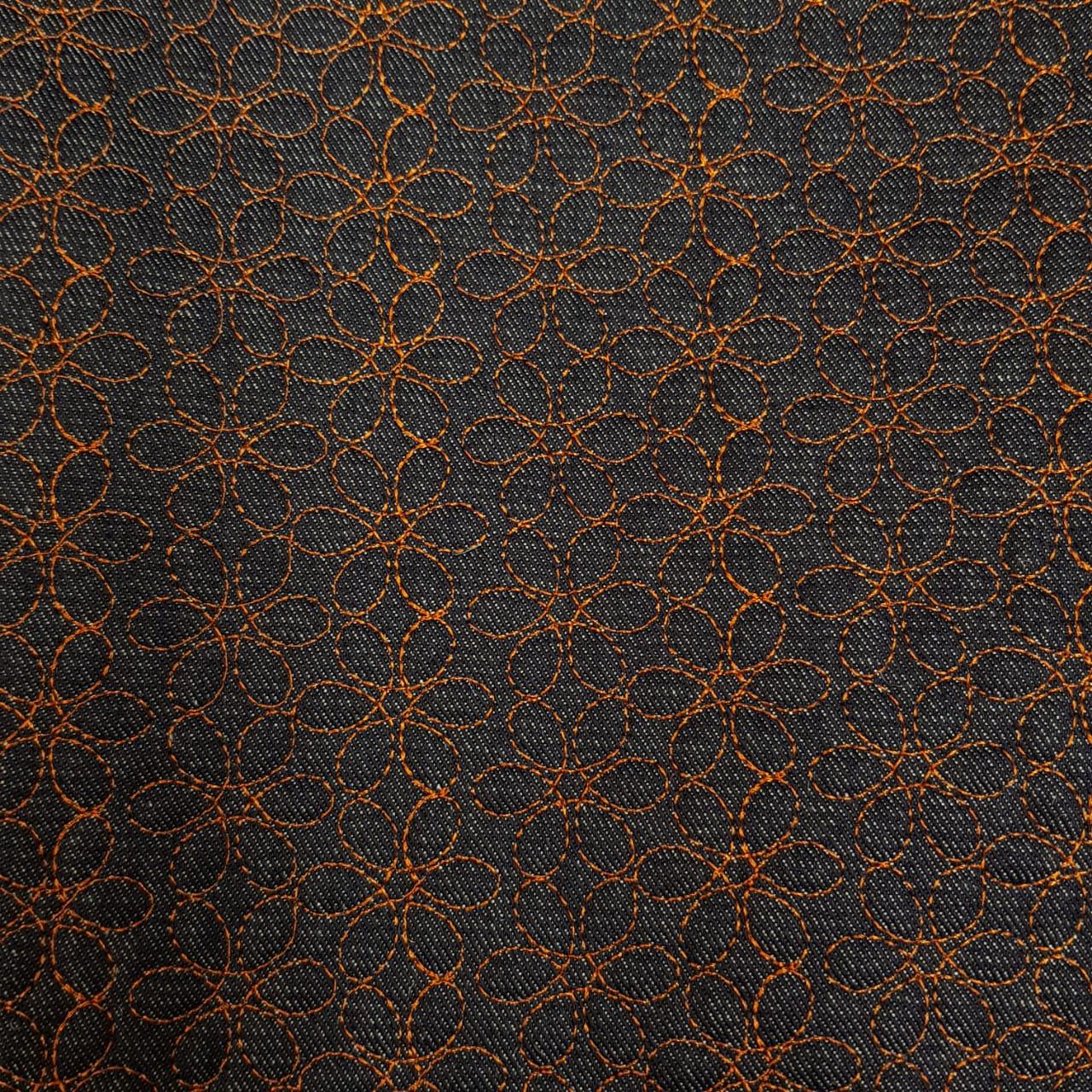 Jeans matelassado -  flores - 50x150cm