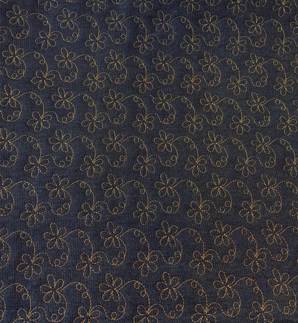 Jeans matelassado - flores miúdas - 0,50cm x 1,50m