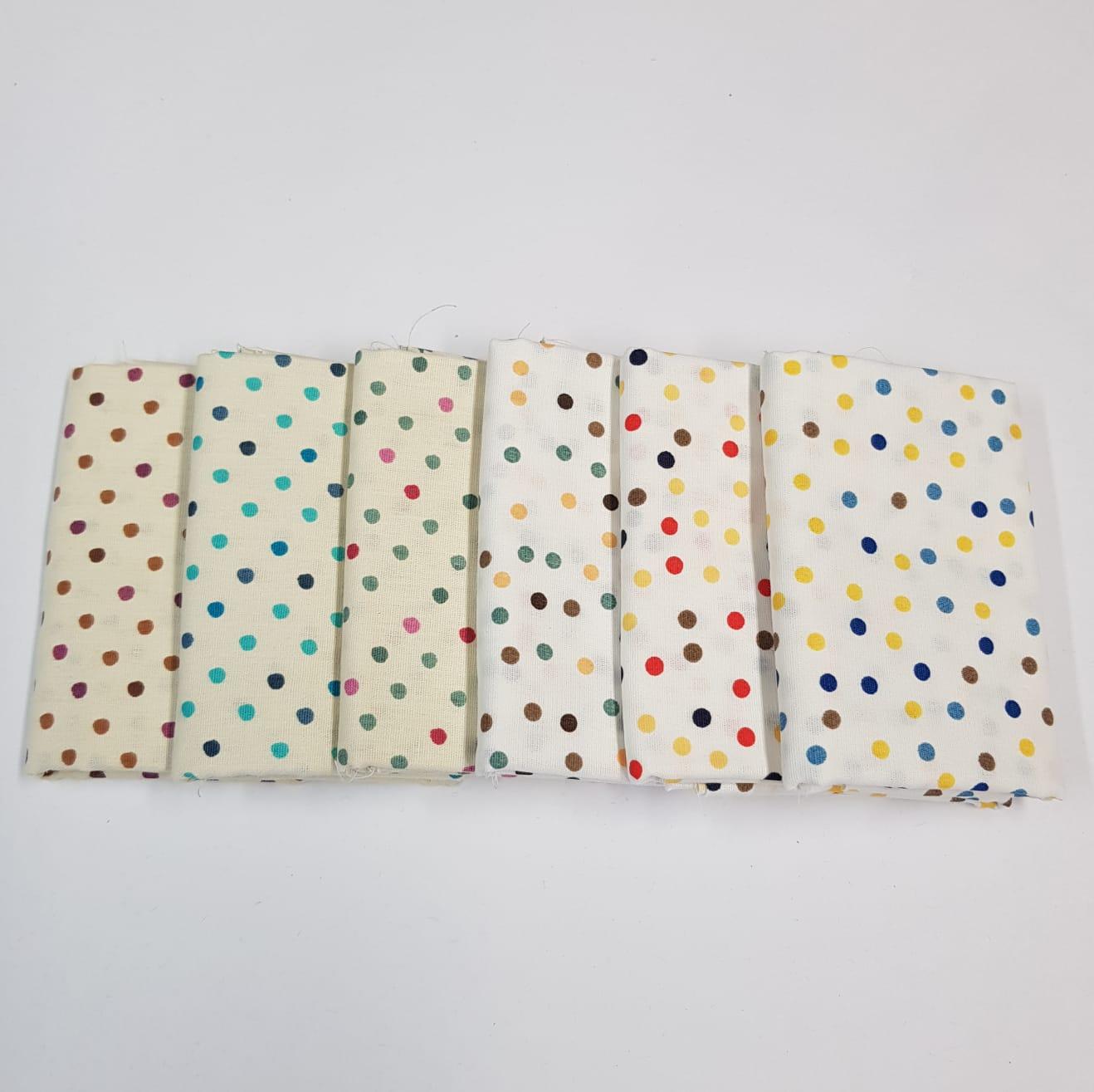 Kit poá colorido fundo bege / 6 estampas - 25x75cm