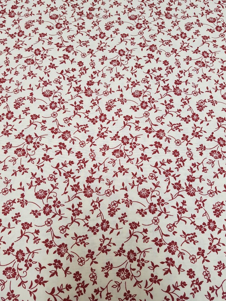 Tecido Nacional floral vinho / fundo bege - 0,50cm x 1,50m