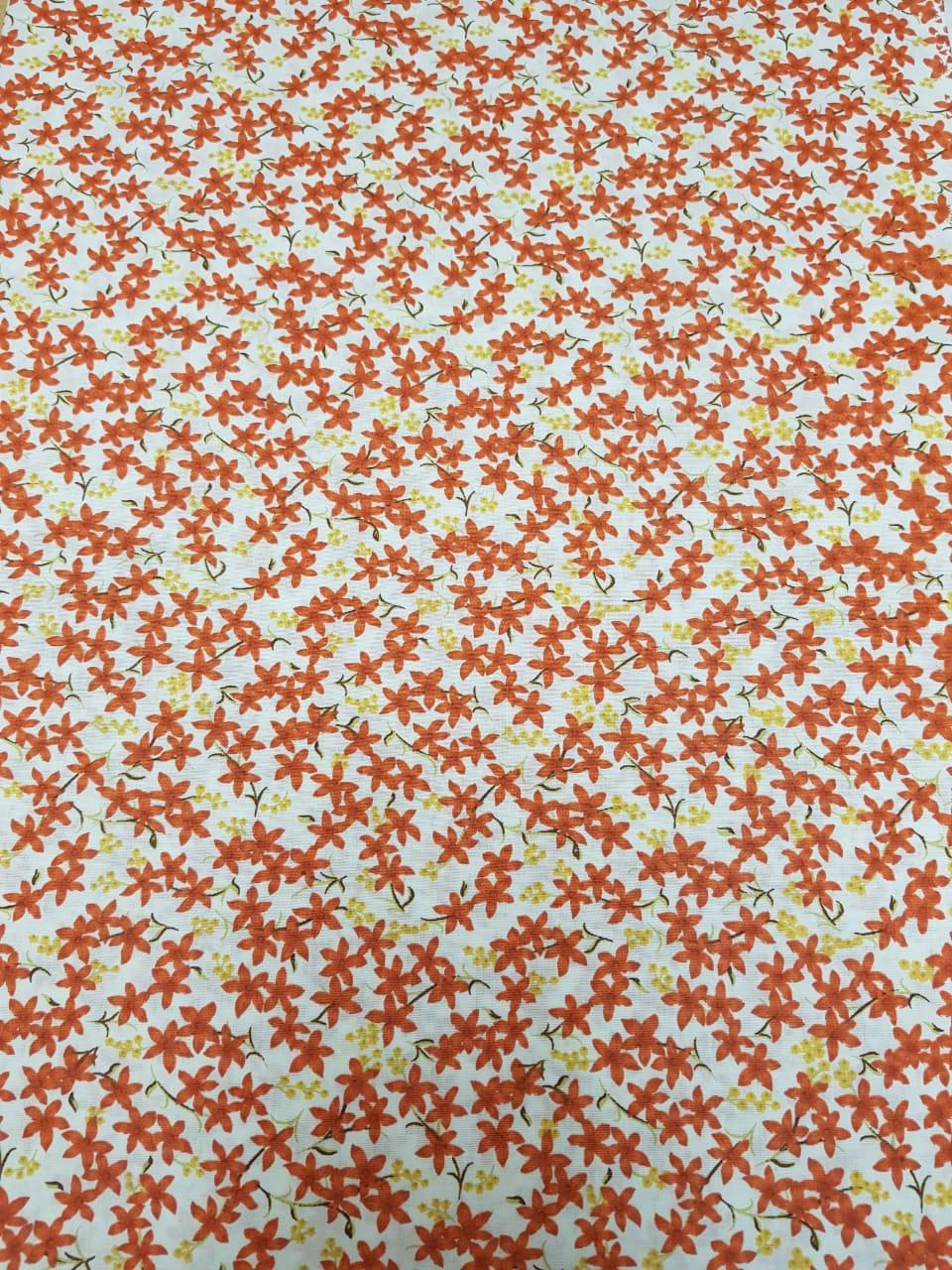 Tecido Nacional - Flores / laranja c/fundo cru