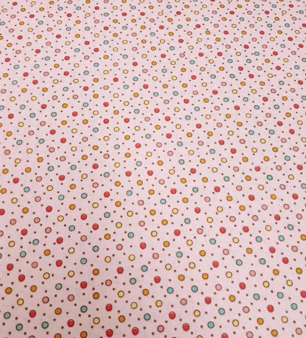 Tecido Nacional - Poá colorido / fundo rosa