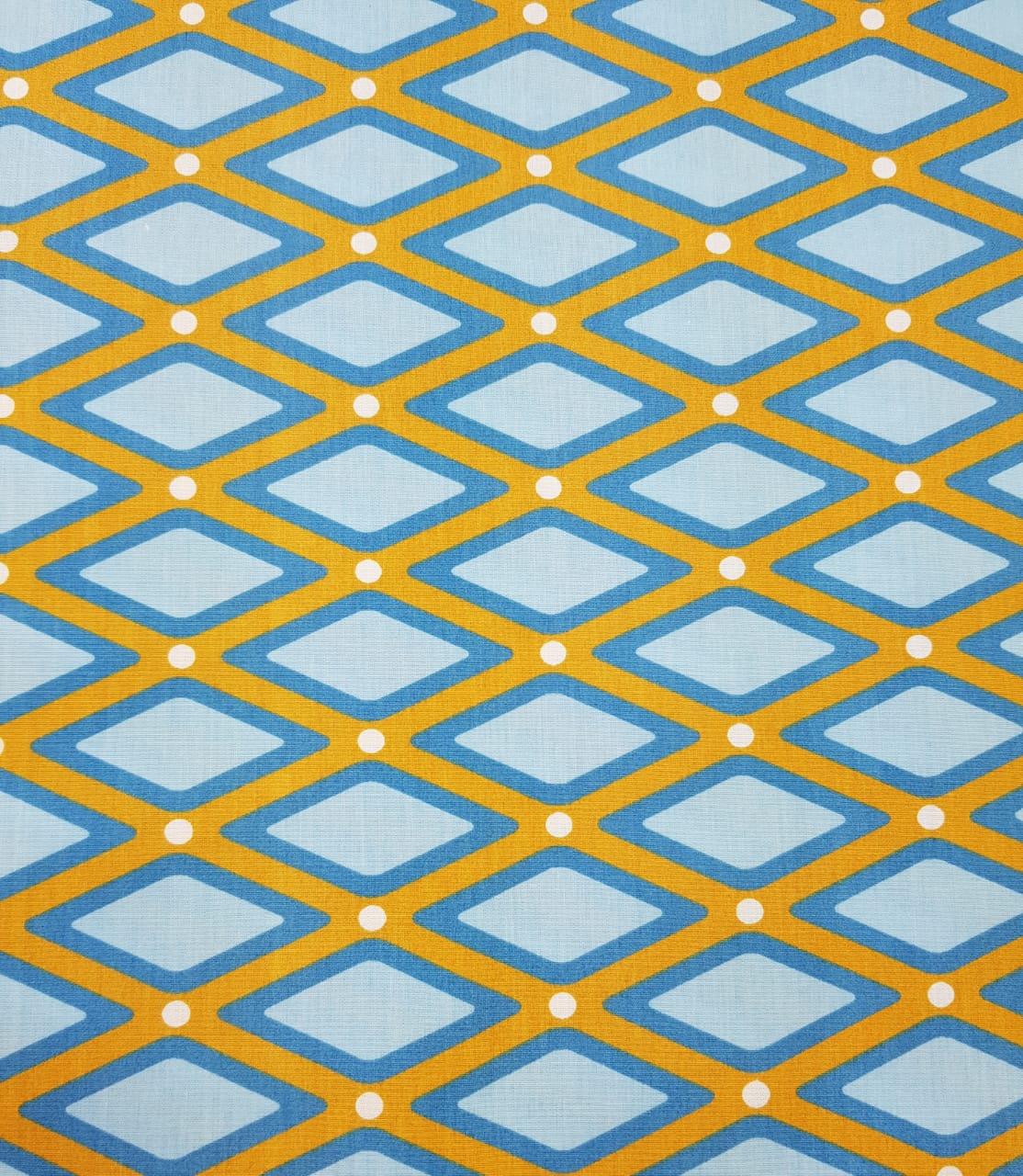 Tecido Nacional - Treliça - Amarelo c/azul