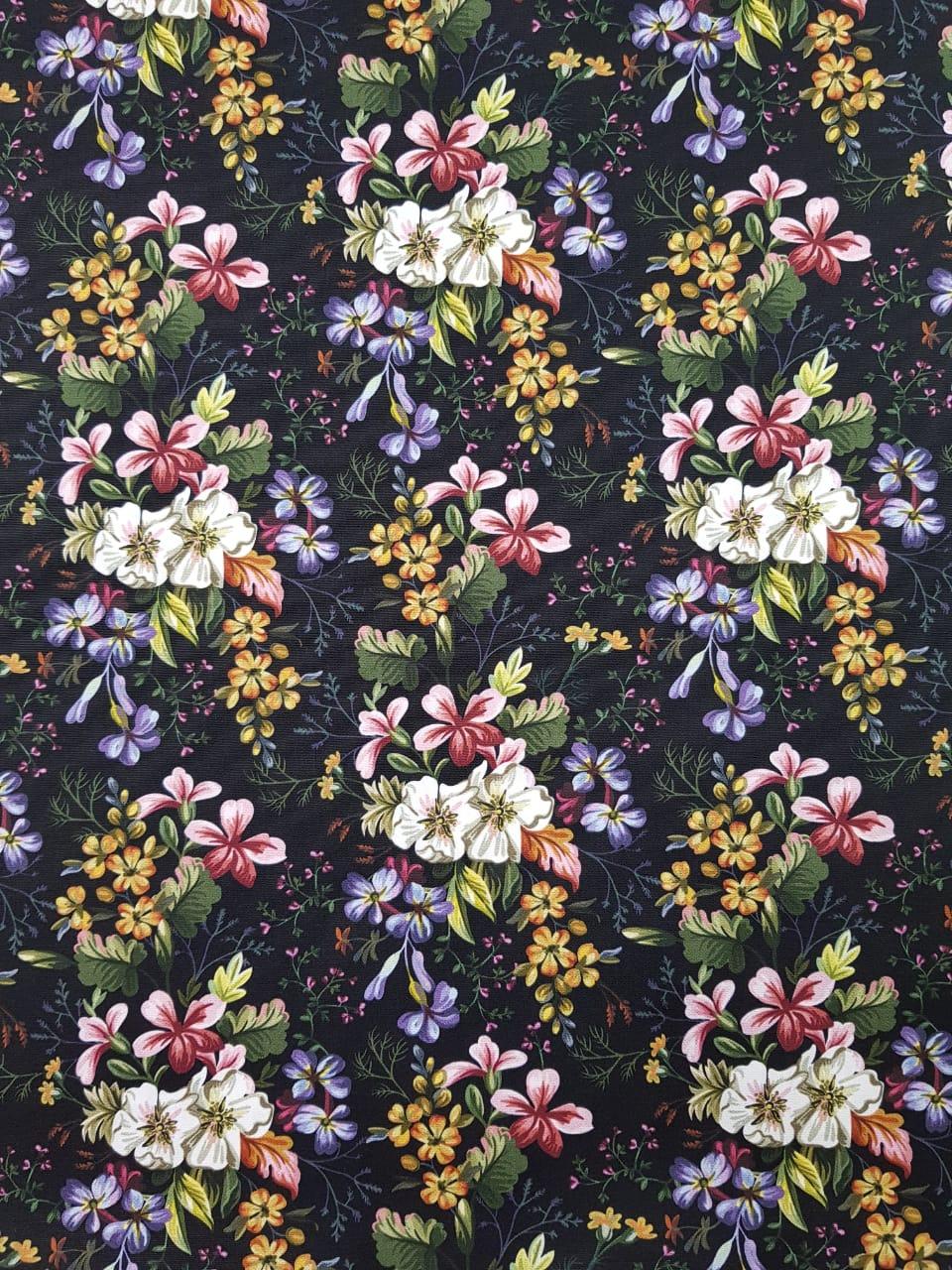 Digital - Floral romântico fundo preto / 0,25cm x 1,50m