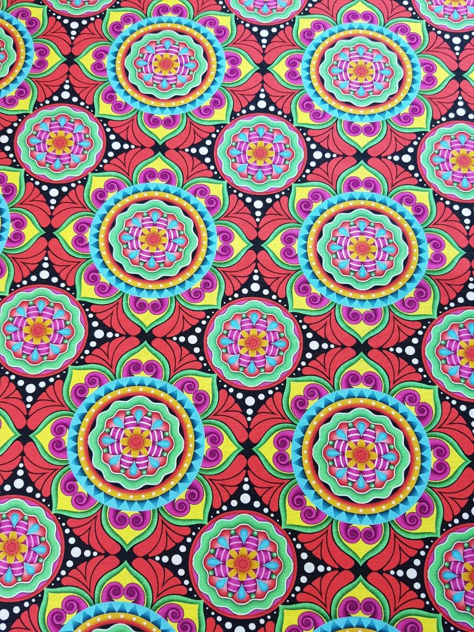 Digital Mandala tibet vermelho - 0,25cm x 1,50m