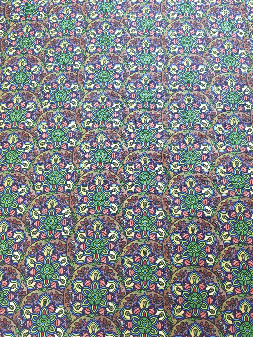 Digital - Mandalas fundo verde / 0,25cm x 1,50m