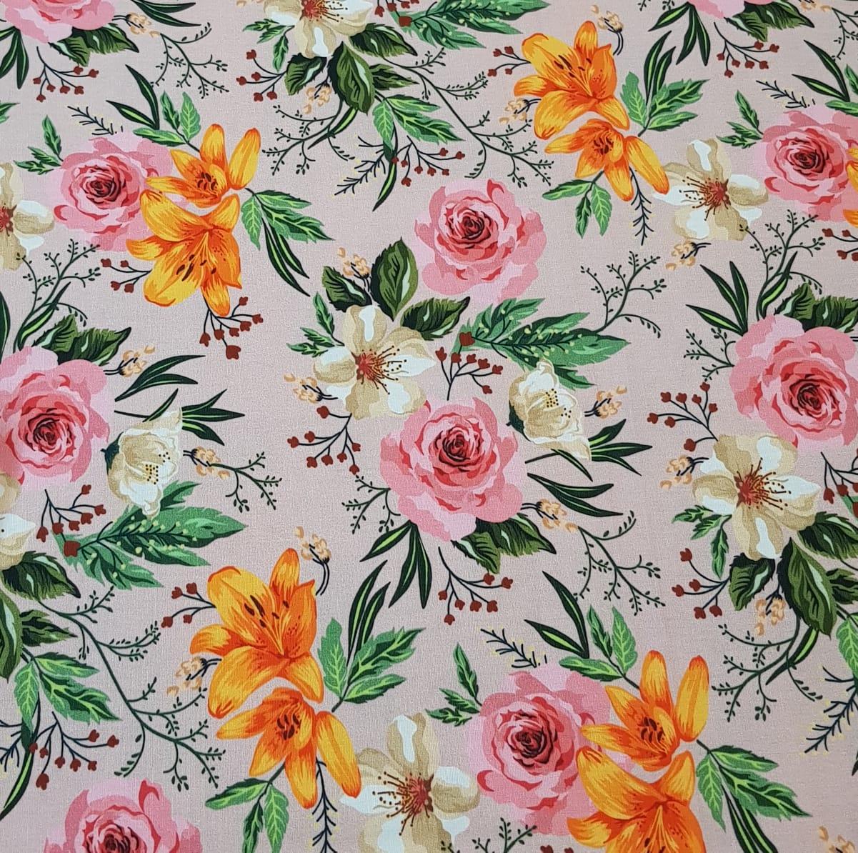 Floral romântico / fundo rosa - 25x150cm