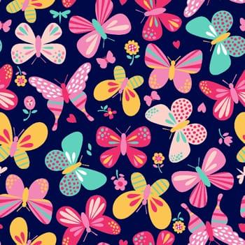 tecido borboletas fundo azul - 0,50cm x 1,50m