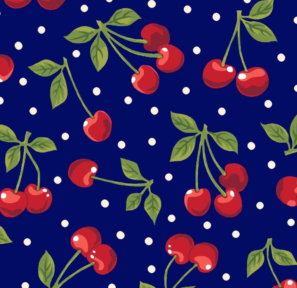 Tecido cerejas / fundo azul marinho - 50x150cm