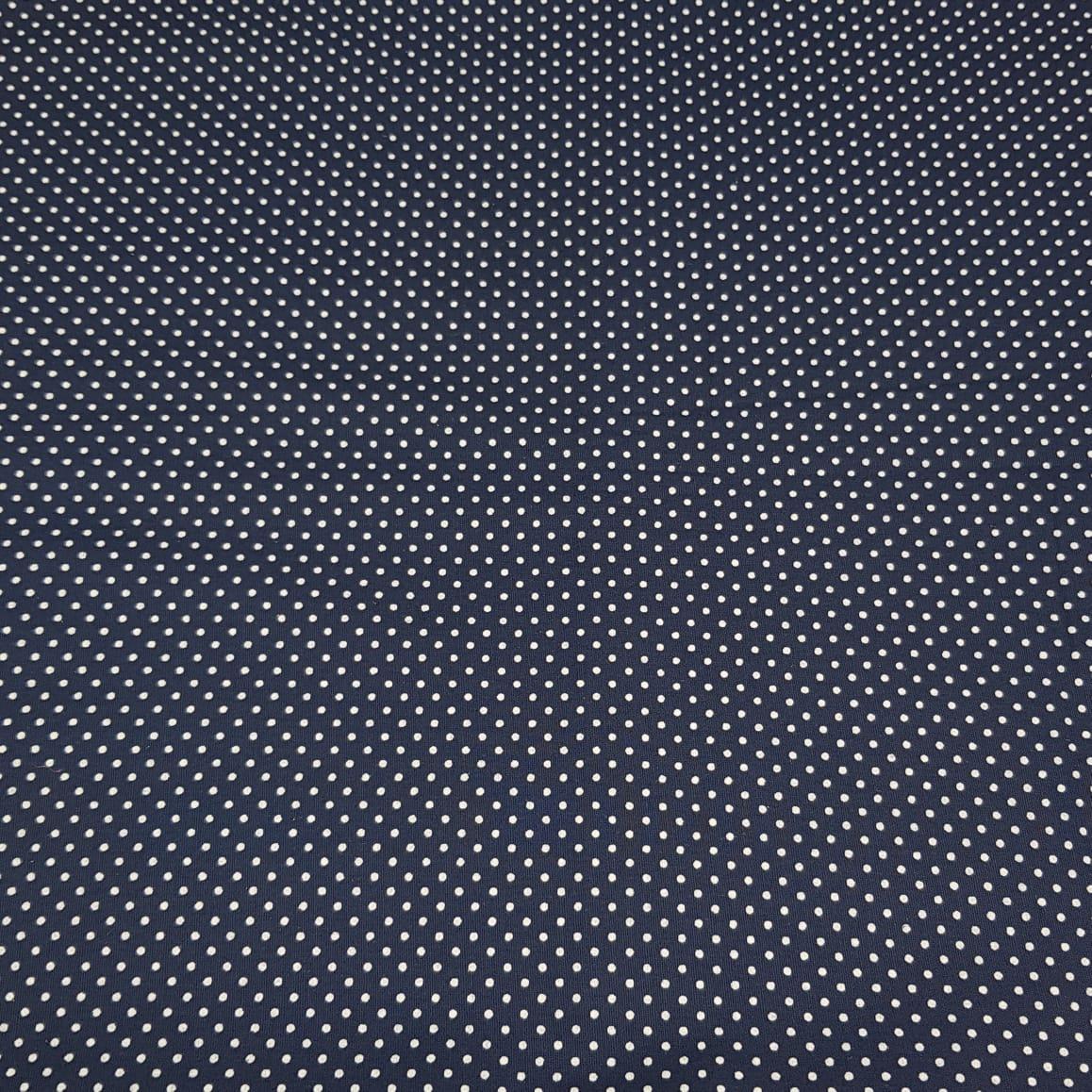 Poá branco / fundo azul marinho - 50x150cm