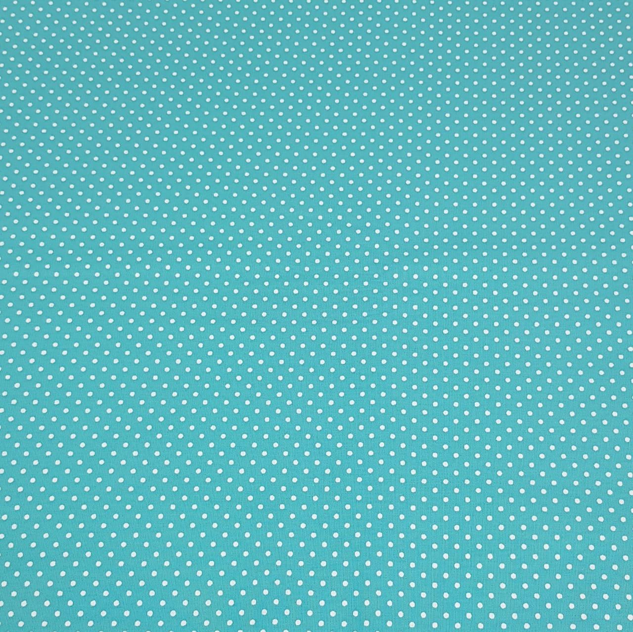 Poá branco / fundo azul turquesa - 50x150cm