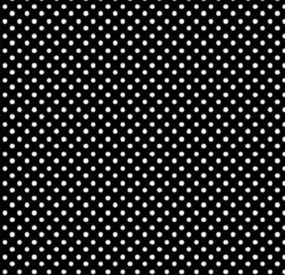 Poá branco fundo preto - 0,50cm x 1,50m