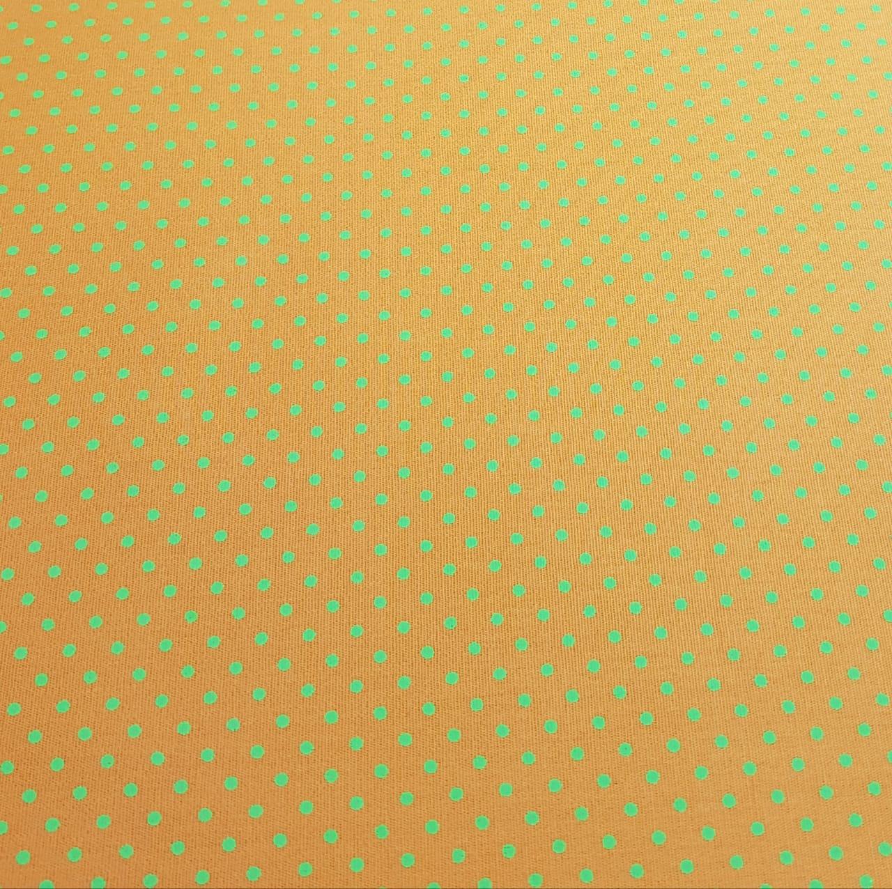 Poá colorido - laranja com poá verde
