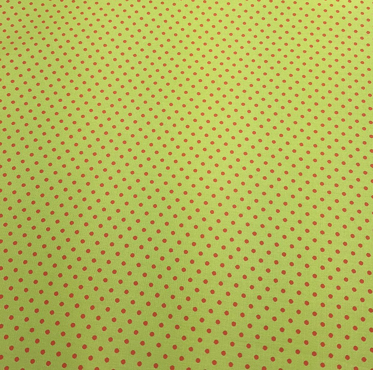 Poá colorido / verde com poá vermelho - 50x150cm