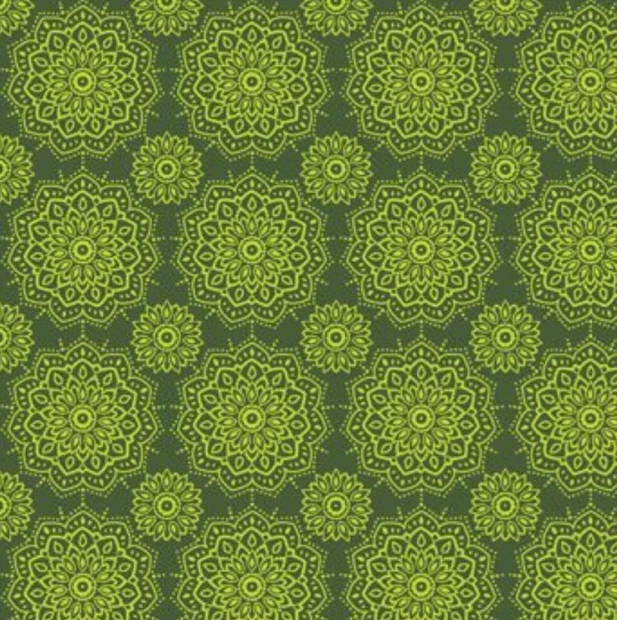 tecido mandalas namastê verde - 30x150cm