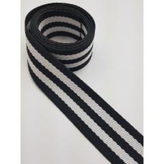 Alça Chic listrada / preto e branco - 4cm x 1,50m