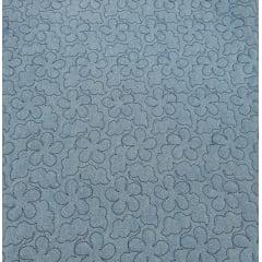 Jeans claro matelassado - flores com nuvens - 0,50cm x 1,50m