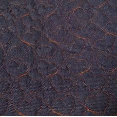 Jeans matelassado - corações - 50x150cm