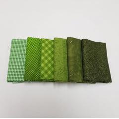 Kit tons de verde / 6 estampas - 25x75cm