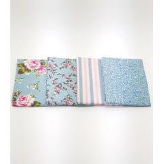 kit floral caldeira azul / 4 estampas - 0,50cm x 0,75cm