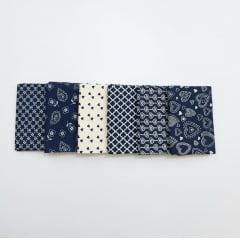 Kit romântico azul / 6 estampas - 0,25 x 0,75cm