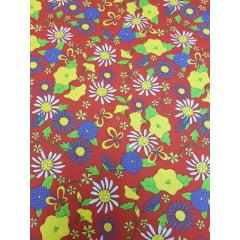 Tecido Nacional - Floral Overall / fundo vermelho