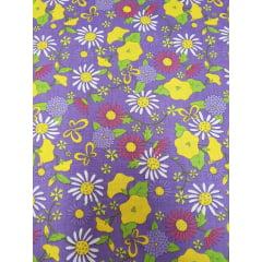 Tecido Nacional - Floral Overall / fundo roxo