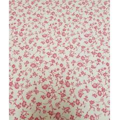 Tecido Nacional Floral rosa / fundo bege - 0,50cm x 1,50m