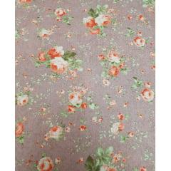 Tecido Nacional - Flores / Fundo Rose