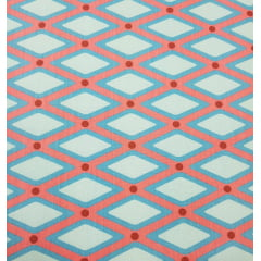 Tecido Nacional - Treliça - Rosa com azul