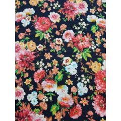Digital - Floral Dálias / fundo preto (0,25cm x 1,50m)