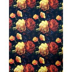 Digital - Flores terracota fdo preto / 0,25cm x 1,50m
