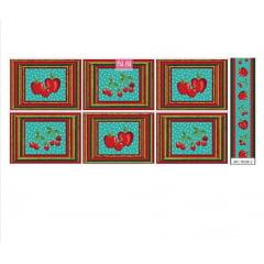 Jogo americano maçãs / fundo turquesa - faixa (65x150cm)