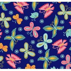 tecido florescer / borboletas fundo Azul Marinho - 0,50cm x 1,50m