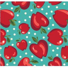 tecido maçãs / fundo turquesa - 50x150cm