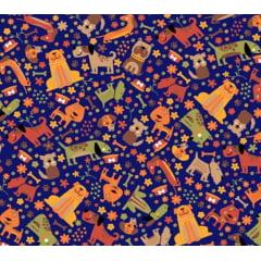 tecido nacional pet dog / fundo azul - 0,50cm x 1,50m