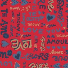 Coleção Amore Love - mensagens / fundo vermelho - 30x150cm
