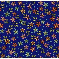 Flores Rhapsody / fundo azul - 0,50cm x 1,50m