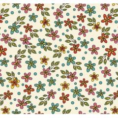 Flores Rhapsody / fundo bege - 0,50cm x 1,50m