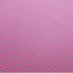 Poá colorido / rosa goiaba com poá azul - 50x150cm