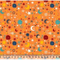 tecido constelação fundo laranja - 0,50cm x 1,50m