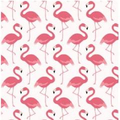tecido flamingos fundo branco - 0,50cm x 1,50m