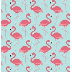tecido flamingos fundo azul - 0,50cm x 1,50m