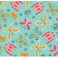 tecido florescer / borboletas fundo azul