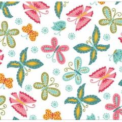 tecido florescer / borboletas fundo branco - 0,50cm x 1,50m