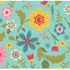 tecido florescer / floral fundo azul - 0,50cm x 1,50m